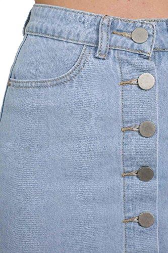 PILOT® botón de arriba de mezclilla mini falda mezclilla ligera