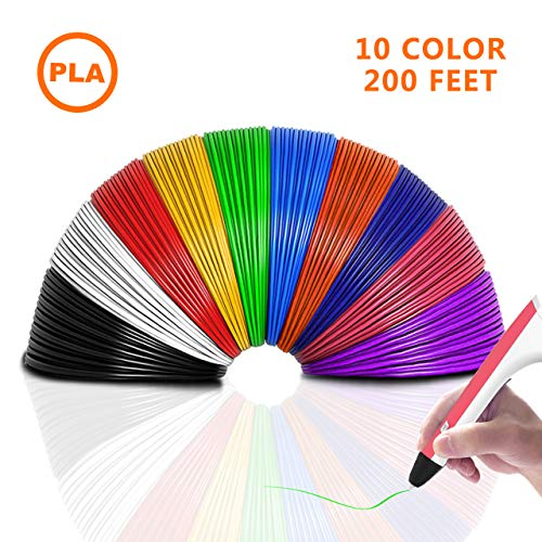 PLA 3D Pen Filament Refills(10 Colors, 20 Feet Each) - THZY 3D Printing Pen Filament 1.75mm Total 200 Feet forMYNT3D DigiHero Canbor Tecboss Soyan TIPEYE 3D Printing Pen