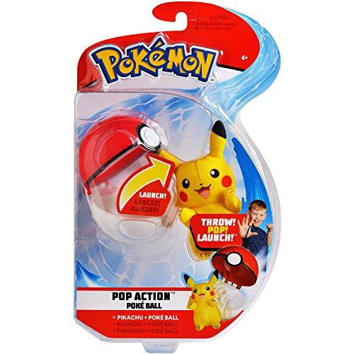 Pop Action (Pokemon Pop Action Poké Ball Launcher, Comes with Launching Pikachu Mini-Plush & Poke Ball - Flies up to 10ft into Battle Action)
