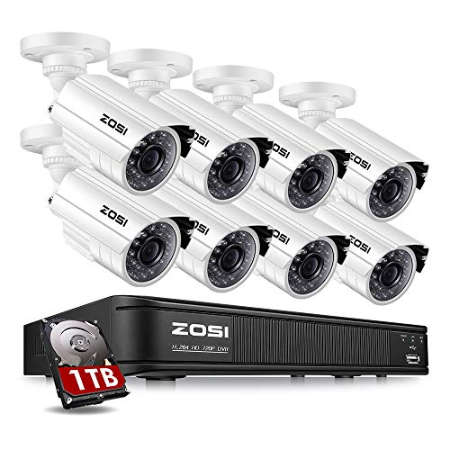 ZOSI 720p HD-TVI Home Surveillance Camera System,8 Channel Security Dvr with 1TB Hard Drive and (8) HD 1.0MP 1280TVL Outdoor/Indoor Day Night CCTV Cameras