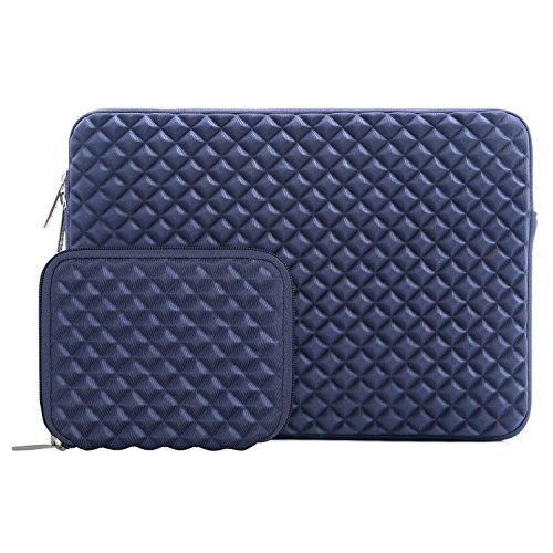 Mosiso Laptop Sleeve Bag for 13-13.3 Inch MacBook Pro, MacBook Air, Notebook Computer with Small Case, Shock Resistant Diamond Foam Water Repellent Lycra Chromebook Tablet Protective Cover, Navy Blue