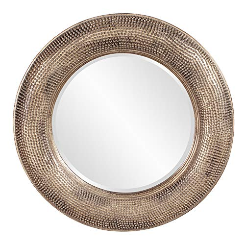 Howard Elliott Raymus Round Hanging Wall Or Vanity Mirror, Hammered Gold Silver - Hammered Mirrors Gold Bathroom