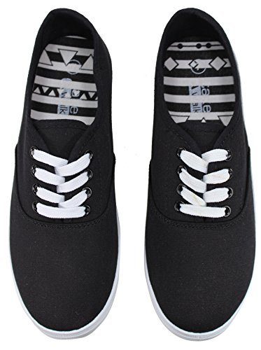 Sneaker Mono Womens up A Walk Prints Take Colors Black Lace �c And Canvas Fashion P1Rnq0