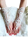 YuRong Elegance Wedding Gloves Bridal Gloves Lace Gloves Fingerless A03 (Ivory)
