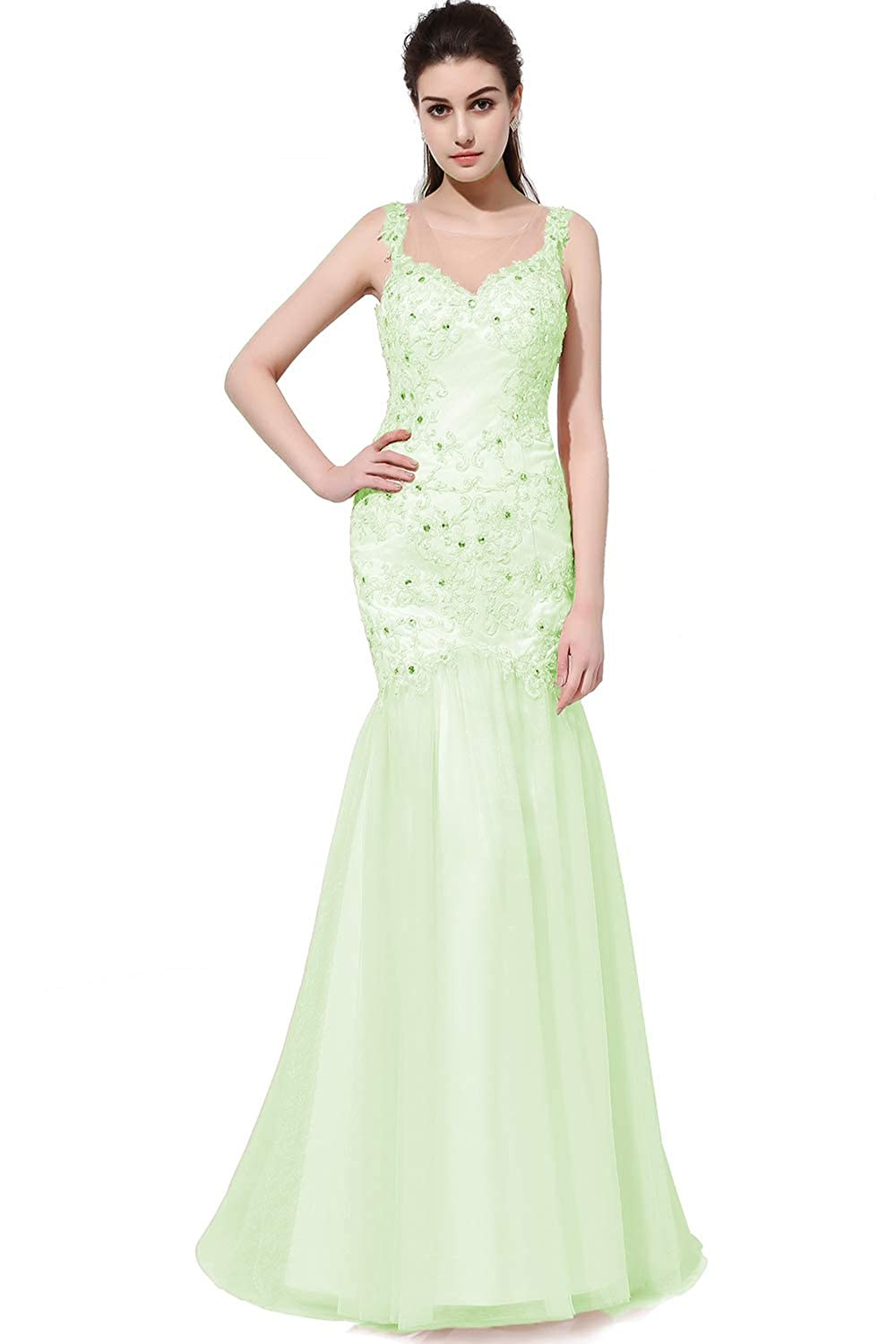 Mint Green SDRESS Women's Rhinestones Lace Appliques Sleeveless Crewneck Mermaid Prom Dress