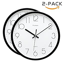Plumeet 12-Inch Non-Ticking Silent Wall Clock with Modern and Classic Design for Living Room Large Kitchen Wall Clock Battery Operated (black 2 pack)