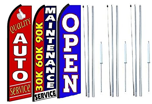 Pack of 3 Quality auto Service 30k 60k 90k Maintenance Service Open King Swooper Feather Flag Sign Kit with Complete Hybrid Pole Set