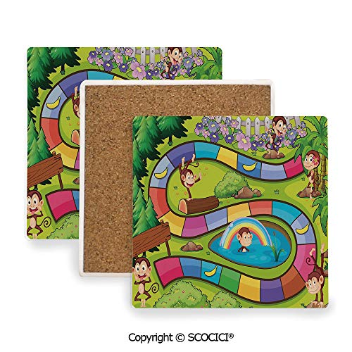 Coaster For Drinks With Vibrant Colors And Cork Backing, Ceramics with cork bottom, Square area coaster,Board Game,Monkeys Apes in Forest Colorful Curve Line,3.9