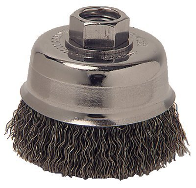 Crimped Wire Cup Brush, 3 in Dia., 5/8-11 Arbor, 0.014 in Carbon Steel (5 Pack)