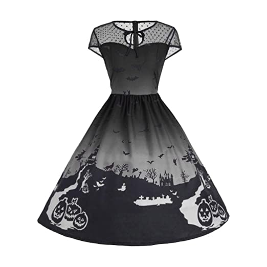 Amazon Grefer Fashion Womens Mesh Patchwork Printed Vintage