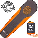 VENTURE 4TH Sleeping Pad for Camping - No Pump or Lung Power Required - Warm, Quiet and Supportive Bedroll for a Comfortable Night's Sleep - Compact and Ultra Light Airpad (Orange/Gray)