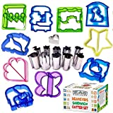 Sandwich Cutters Bento Box accessories for Kids 10 Bread Crust Cutters + FREE 11 Stainless Steel Mini Fun Heart, Dinosaur Funbites Food Cutter Shapes Vegetables Fruit Cheese Press + FREE Cookies eBook