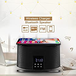 MHCOZY Wireless Bluetooth Speakers 8 Pin Charger Dock Station FM Radio Alarm Clock Desktop Speakers (wireless charger speaker)