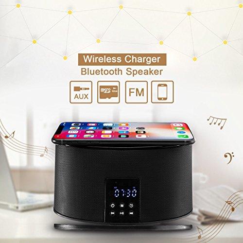 MHCOZY Wireless Bluetooth Speakers 8 Pin Charger Dock Station FM Radio Alarm Clock Desktop Speakers (wireless charger speaker)
