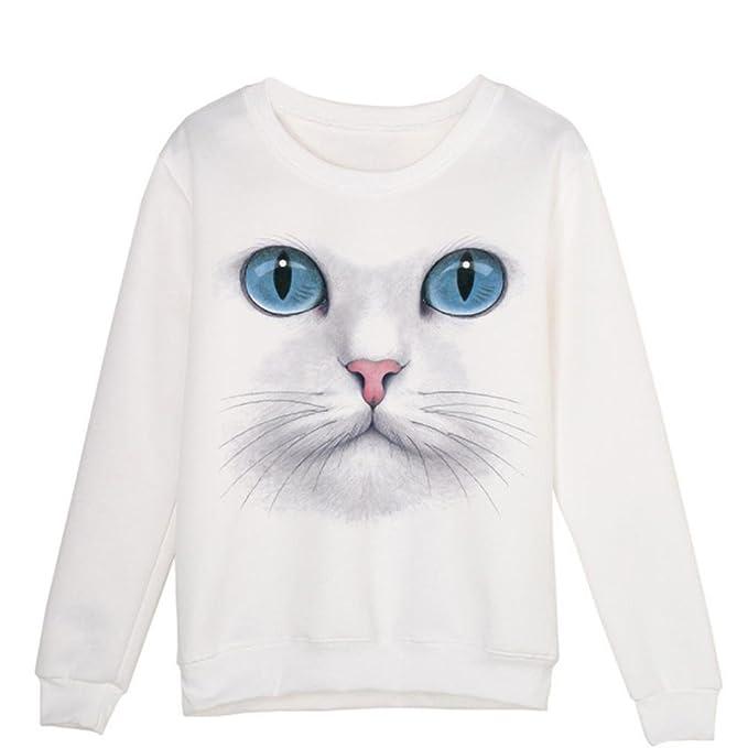 K-youth® Sudaderas Mujer Invierno otoño Sudaderas Mujer Gato 3D Impresión Camisa Pullover t-Shirt Moda Tumblr Casual Blusa Tops Ropa de Mujer en Oferta ...