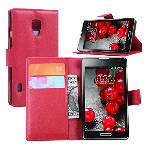 Premium Leather Wallet [ Flip Bracket ] Case Cover for LG Optimus L7 II P710 (Wallet - Red)