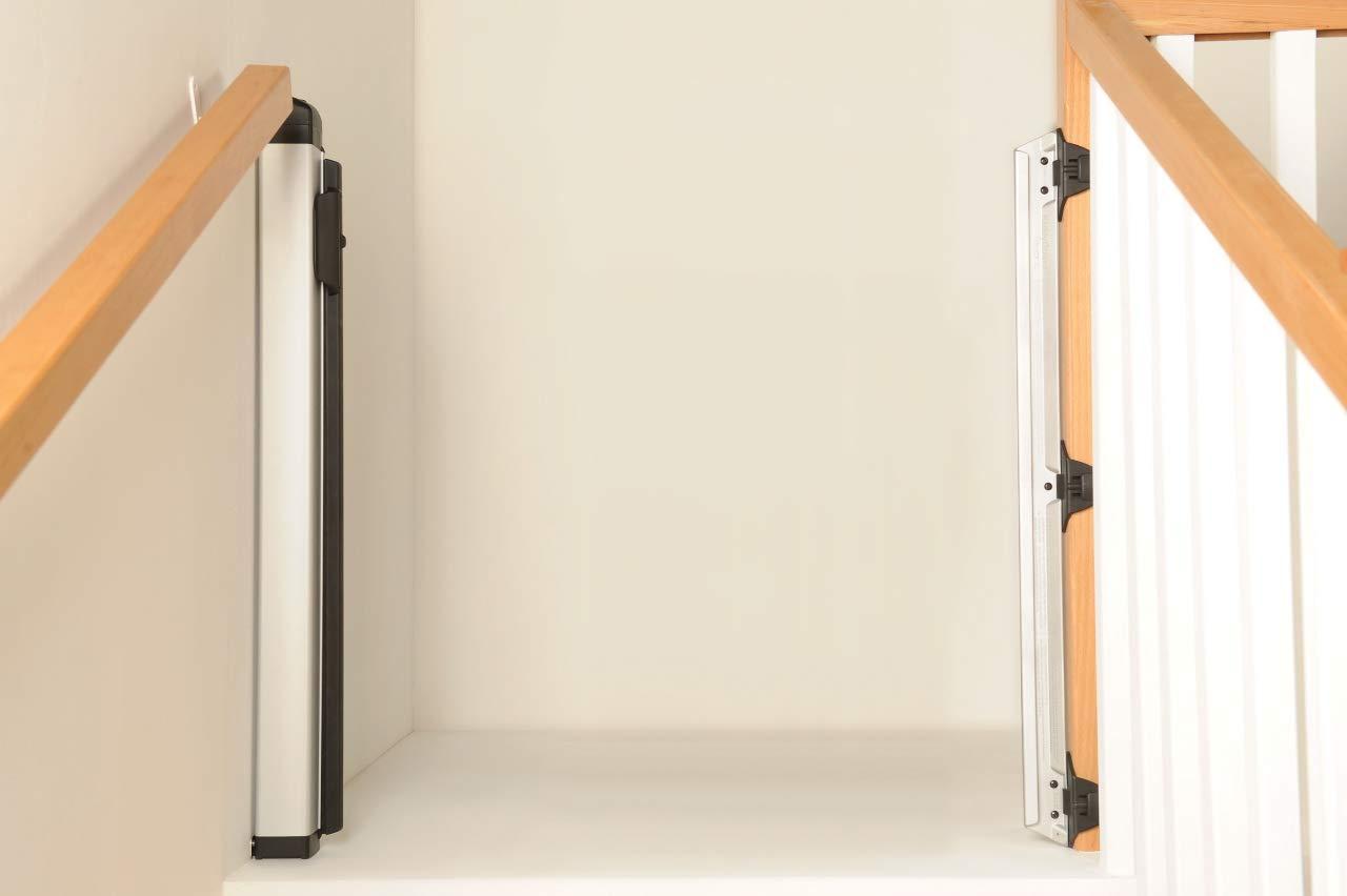 T/ürschutzgitter bis 120cm Breite schwarz einrollbares T/ürgitter aus Netz und geb/ürstetem Aluminiumgeh/äuse stilvolles Treppenschutzgitter f/ür Babys Lascal KiddyGuard Avant