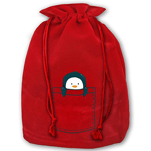 Pocket Penguin Drawstring Christmas Gift Bag Made Of Pleuche And Sponge Velvet By Gift Boutique (Clever Simple Halloween Costumes)