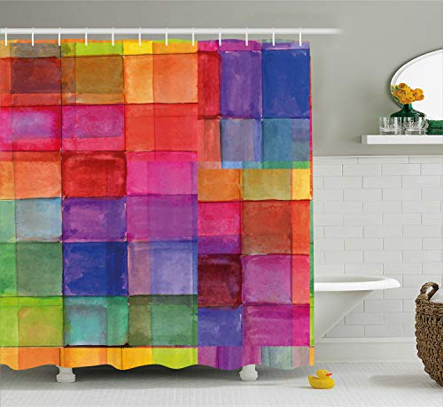 Ambesonne Abstract Shower Curtain, Rainbow Colored Geometric Square Shaped with Blurry Hazy Effects Watercolor Design, Fabric Bathroom Decor Set with Hooks, 70 Inches, Multicolor