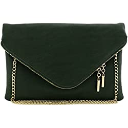 Large Envelope Clutch Bag with Chain Strap (Olive)