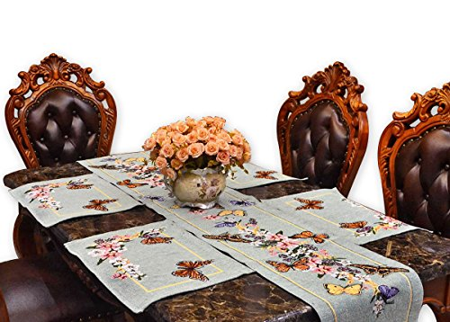 8' Doilies (Dining Table Runners with 4 Sets Placemats Cloth for Coffee Table End Table Side Table Pub Jacquard Burlap Cotton Doily Table Cloth Table Cover for Accent Table Bar Kitchen Decoration Butterfly Flower)
