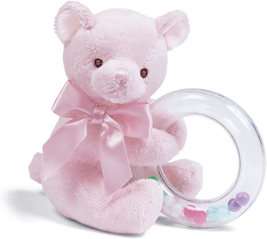 "Bearington Baby Dottie Pink Teddy Bear, Baby Rattle, 5"": Toys & Games"