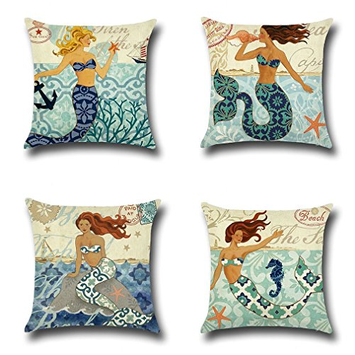 LEIOH Mediterranean Style Mermaid Beach Decor Cotton Linen Decorative Throw Pillow Case Cushion Cover Sets of 4 18X18 Inches (Pillows Cottage Style Decorative)
