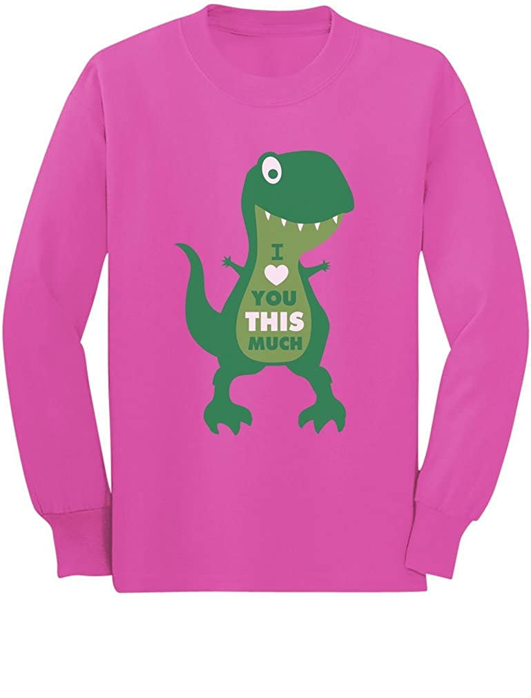 T-Rex I Love You This Much Valentines Day Toddler//Kids Long Sleeve T-Shirt