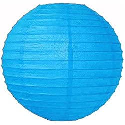 "Perfectmaze 12 Piece Round Chinese Paper Lantern for Wedding Party Engagement Decoration 10 Sizes / Colors+ (8"" (Inch), Turquoise)"