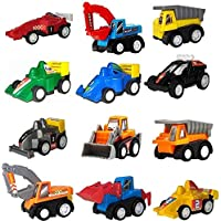 Amitasha Pull Back Mini Construction Truck Racing Cars Toy Vehicles for Boys - Pack of 12 (Multicolor)