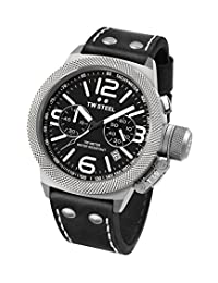 TW Steel CS3 Men's Canteen Leather Black Dial Black Strap Chronograph Watch