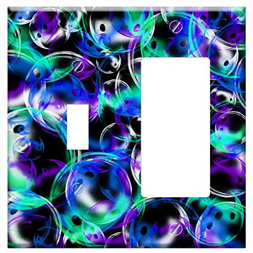 1-Toggle 1-Rocker/GFCI Combination Wall Plate Cover - Bubbles Background Photoshop Design Blue Teal