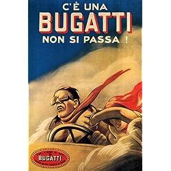 COUPLE FAST CAR BUGATTI ITALIA ITALY ITALIAN LARGE VINTAGE POSTER REPRO