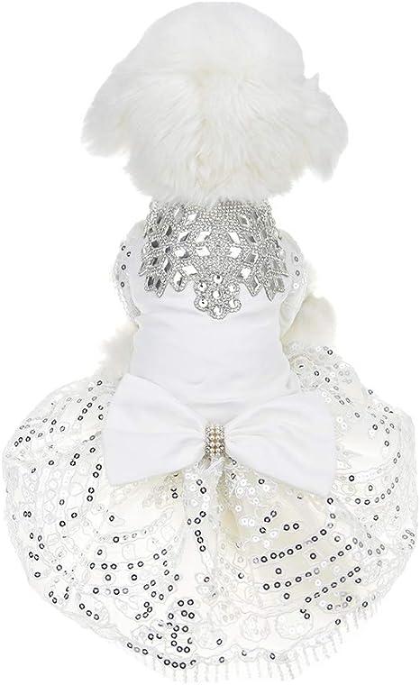 FLAdorepet Vestido de Fiesta para Perro, con Brillantes Diamantes ...