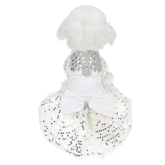 para Perros peque/ños con Brillantes Diamantes de imitaci/ón Ropa para Mascotas tut/ú Falda de Encaje de Lujo Vestido de Novia FLAdorepet Vestido de Fiesta para Perro