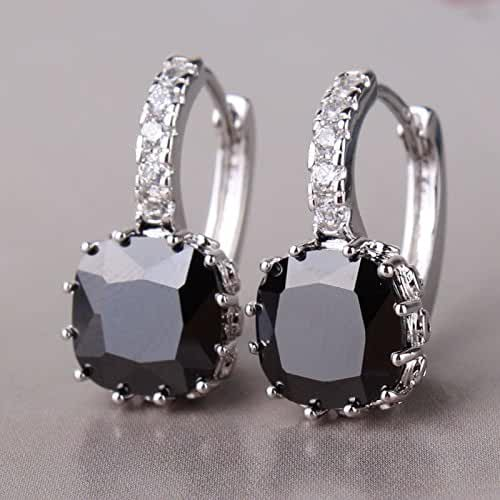 Chokushop 14 Luxury Well-Liked 18K White Gold Plated Hoop Earing Black Topaz Notable Lady Classic Engagement Earings E001b