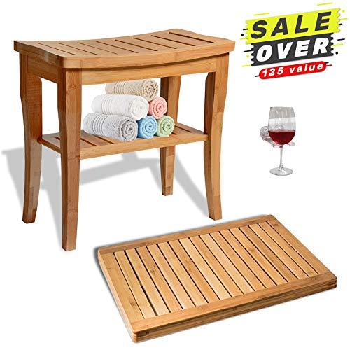 House Ur Home - Asiento de bambú para ducha con asiento de madera de spa, taburete organizador de lujo con estante de...