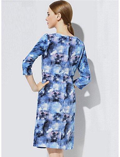 PU&PU Robe Aux femmes Gaine Simple,Imprimé Col Arrondi Mi-long Coton , blue-m , blue-m