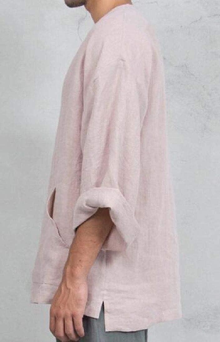 pipigo Mens Casual Long Sleeve Ethnic Cotton Linen Loose Fit Shirts