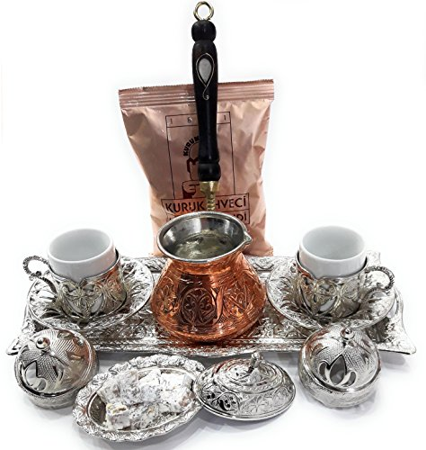 Silk Road Tin - 11 Pieces Espresso/Turkish Greek Arabic Coffee Full Set (Special Daphne Design) for 2 Persons Bundle with Unique Copper Coffee Pot & 1 Pack 3.3 Oz Premium Mehmet Efendi Turkish Coffee