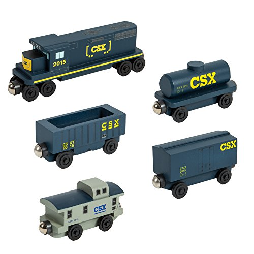 The Csx T 5 Car Wooden Toy Train Set By Whittle Shortline Railroad