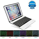 HIOTECH iPad Pro 9.7 Keyboard Case Bluetooth Aluminum Alloy Keypad Cover with Additional Rechargable Batteries for iPad Pro 9.7/iPad Air with 7 LED Backlit Keys (Silver)