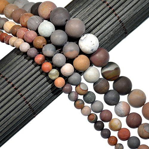 (AD Beads Beautiful Natural Matte Gemstone Round Spacer Loose Beads 4-12mm (6mm, 34 Matte Imperial Jasper))