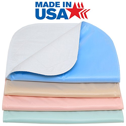 4 PACK 100% Cotton Top- 34 x 36 Reusable Incontinence Underpad - Heavy Weight Soaker / Made in the USA Washable Incontinence Bed Pad