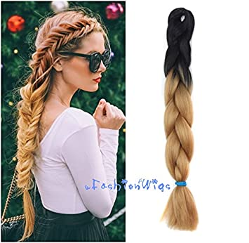 Amazon black to dark honey blonde two colors ombre braid hair black to dark honey blonde two colors ombre braid hair extension synthetic braid hair extensions pmusecretfo Images