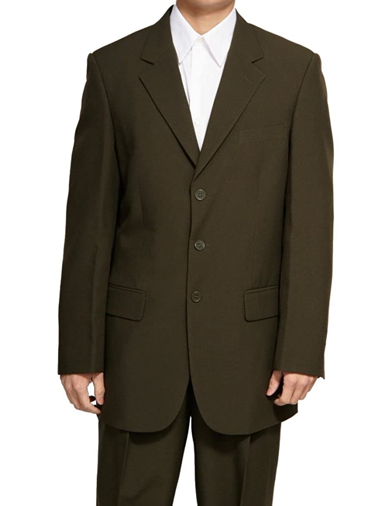 New Men's 3 Button Single Breasted Olive Green Dress Suit