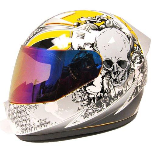 1Storm Motorcycle Street Bike Full Face Adult Helmet Booster Skull Yellow