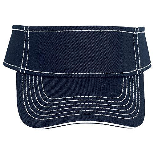 Otto Caps Superior Cotton Twill Sandwich Visor W/Contrast Stitching Solid Color Sun Visors ()