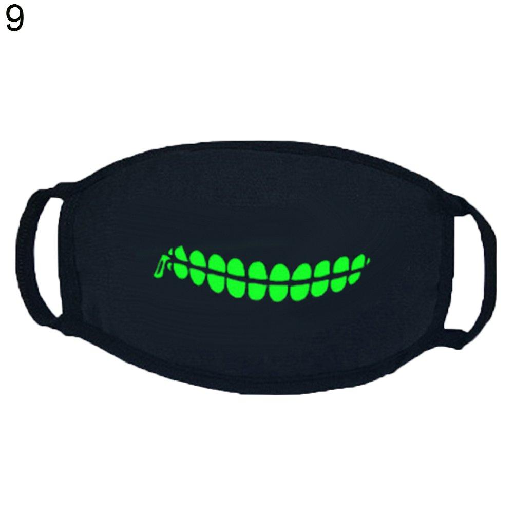 Lightclub Punk Fangs Teeth Pattern Soft Cotton Luminous Mask Winter Unisex Mouth-muffle (9#)