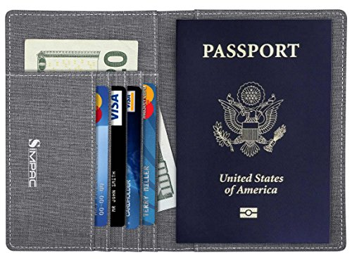 Passport Cover Holder Wallet (Simpac Fabric Passport Holder Wallet Cover Case RFID Blocking Travel Wallet)